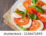 close up photo of caprese salad ... | Shutterstock . vector #1136671895