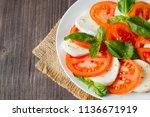 close up photo of caprese salad ... | Shutterstock . vector #1136671919