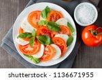 close up photo of caprese salad ... | Shutterstock . vector #1136671955