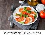 close up photo of caprese salad ... | Shutterstock . vector #1136671961