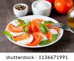 close up photo of caprese salad ... | Shutterstock . vector #1136671991