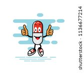 capsule mascot two thumbs style ... | Shutterstock .eps vector #1136677214