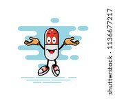 capsule mascot open hands style ... | Shutterstock .eps vector #1136677217