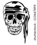the vector image of piracy skull | Shutterstock .eps vector #113667895