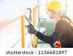 industrial worker with safety... | Shutterstock . vector #1136681897