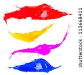 colored splashes on white... | Shutterstock . vector #113668411