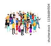 isometric dancing people...   Shutterstock .eps vector #1136684504