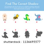 animals and their shapes shadow ... | Shutterstock .eps vector #1136695577