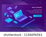 vector 3d isometric template... | Shutterstock .eps vector #1136696561