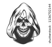 skull in the hood. vector... | Shutterstock .eps vector #1136702144