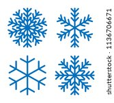 snowflakes signs set. blue... | Shutterstock .eps vector #1136706671