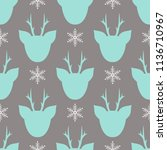 christmas pattern with deer... | Shutterstock .eps vector #1136710967