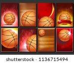 basketball poster set vector.... | Shutterstock .eps vector #1136715494