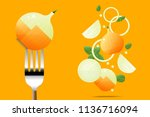 fresh onion on fork with flying ... | Shutterstock .eps vector #1136716094