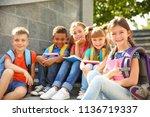 cute little children with... | Shutterstock . vector #1136719337