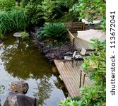 Garden With Stones  Water And...