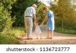 back view of grandparents and... | Shutterstock . vector #1136723777
