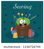 sewing  needle bed  thread ...   Shutterstock .eps vector #1136726744