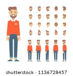front  side  back view animated ... | Shutterstock .eps vector #1136728457