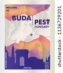 modern hungary budapest skyline ... | Shutterstock .eps vector #1136729201