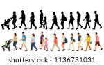 set  crowd of people  people go ... | Shutterstock .eps vector #1136731031