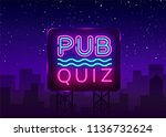pub quiz night announcement...   Shutterstock .eps vector #1136732624