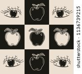 hand drawn doodle apple eye in... | Shutterstock .eps vector #1136739215
