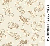 vegetable doodles seamless... | Shutterstock .eps vector #113674681