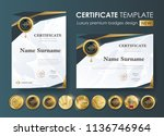 certificate template with... | Shutterstock .eps vector #1136746964