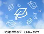 cloud shaped as graduated hat... | Shutterstock . vector #113675095