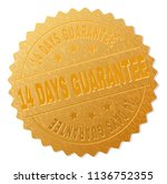 14 days guarantee gold stamp... | Shutterstock .eps vector #1136752355