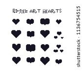 hearts pixel art icon set.... | Shutterstock .eps vector #1136754515