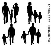 set silhouette of happy family... | Shutterstock . vector #1136758301