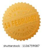 14 february gold stamp seal.... | Shutterstock .eps vector #1136759087