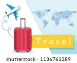 beautiful red luggage and plane ... | Shutterstock .eps vector #1136761289
