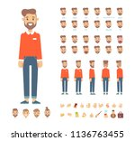 front  side  back view animated ... | Shutterstock .eps vector #1136763455