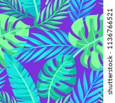 tropical vector green leaves... | Shutterstock .eps vector #1136766521