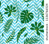 tropical vector green leaves... | Shutterstock .eps vector #1136766524