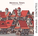 medieval ancient city.... | Shutterstock .eps vector #1136767511