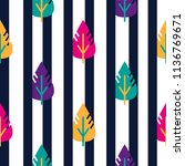 vector seamless leaves pattern. ... | Shutterstock .eps vector #1136769671