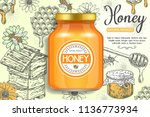 natural sweet product honey ads.... | Shutterstock .eps vector #1136773934