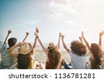 beach summer holiday sea people ... | Shutterstock . vector #1136781281