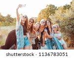 six beautiful girls make selfie ... | Shutterstock . vector #1136783051