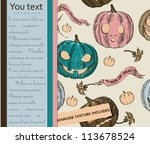 halloween card and seamless... | Shutterstock .eps vector #113678524