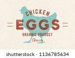 chicken eggs. vintage hand...   Shutterstock . vector #1136785634