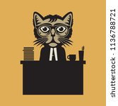 office boss cat sign or symbol  ... | Shutterstock .eps vector #1136788721