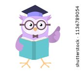 owl wearing education cap... | Shutterstock .eps vector #1136789054