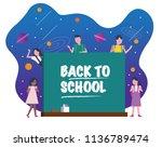 happy kids with chalkboard.... | Shutterstock .eps vector #1136789474