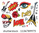 rock and roll stickers icons... | Shutterstock .eps vector #1136789975