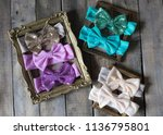 bow headband set of colorful... | Shutterstock . vector #1136795801